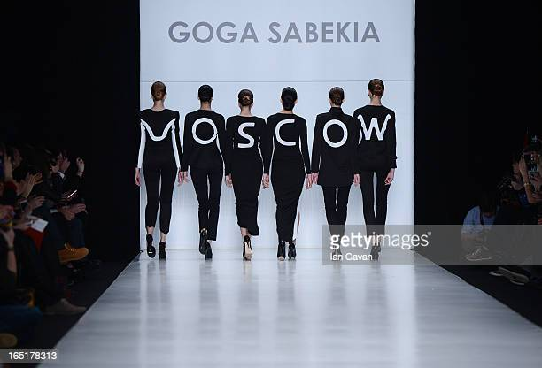 Models walk the runway at the Goga Sabekia show during MercedesBenz Fashion Week Russia Fall/Winter 2013/2014 at Manege on April 1 2013 in Moscow...