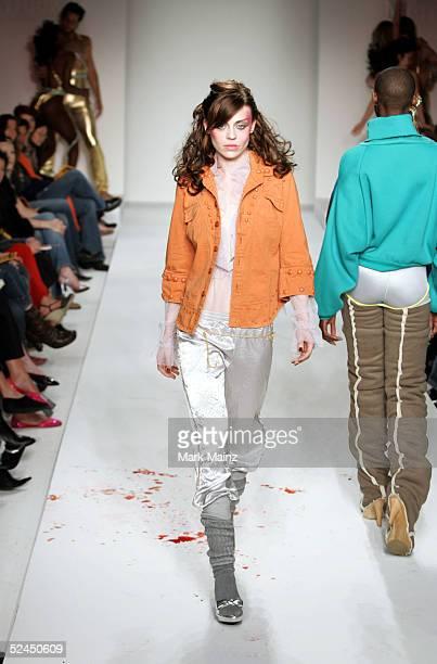 Models walk the runway at the Grey Ant Fall 2005 show during MercedesBenz Fashion Week at Smashbox Studios March 18 2005 in Culver City California