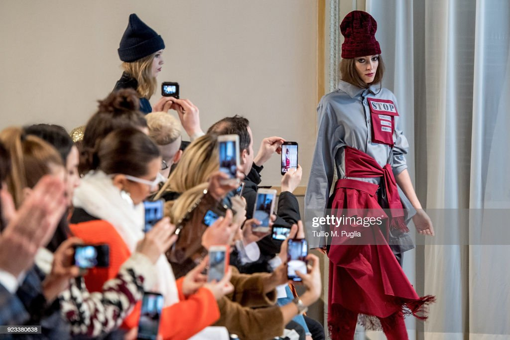 Models walk the runway at the Grinko show during Milan Fashion Week Fall/Winter 2018/19 on February 23, 2018 in Milan, Italy.