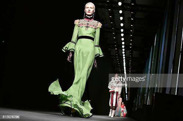 Models walk the runway at the Gucci Autumn Winter 2016 fashion show during Milan Fashion Week on February 24 2016 in Milan Italy