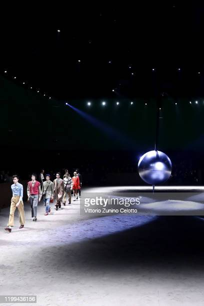 Models walk the runway at the Gucci fashion show on January 14, 2020 in Milan, Italy.