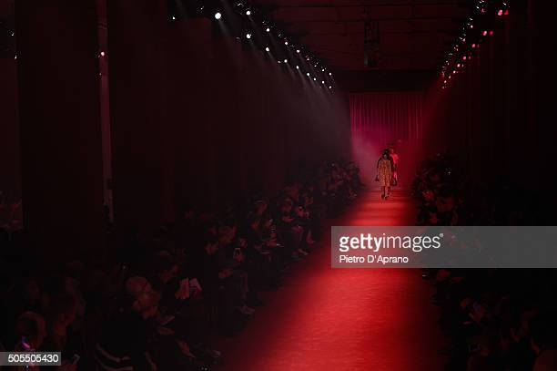 Models walk the runway at the Gucci show during Milan Men's Fashion Week Fall/Winter 2016/17 on January 18 2016 in Milan Italy