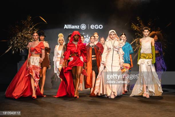 Models walk the runway at the Guillermo Décimo fashion show during Samsung EGO Mercedes Benz Fashion Week Madrid April 2021 at Ifema on April 11,...