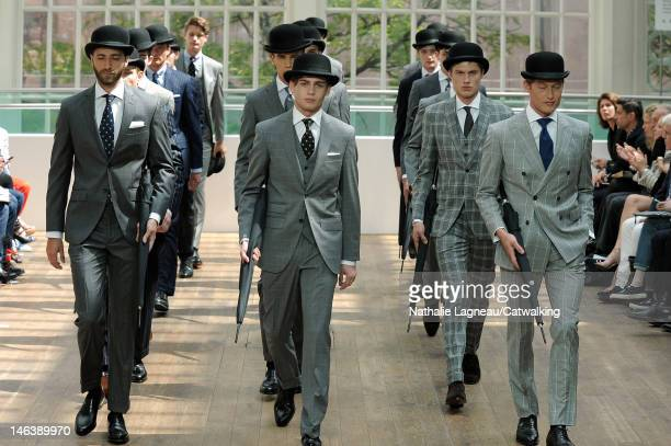 Models walk the runway at the Hackett London Spring Summer 2013 fashion show during London Menswear Fashion Week on June 15 2012 in London United...