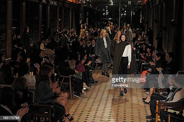 Models walk the runway at the Hermes Autumn Winter 2013 fashion show during Paris Fashion Week on March 5 2013 in Paris France
