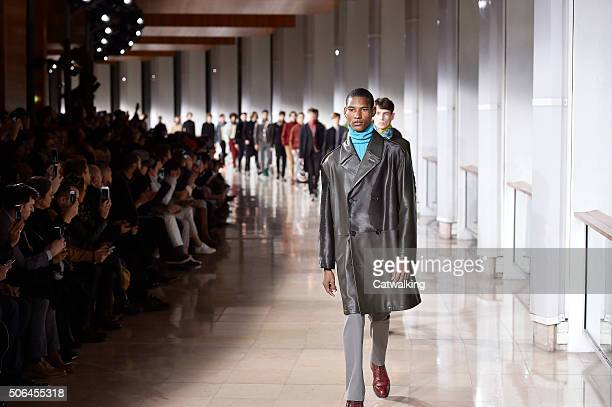 Models walk the runway at the Hermes Autumn Winter 2016 fashion show during Paris Menswear Fashion Week on January 23 2016 in Paris France