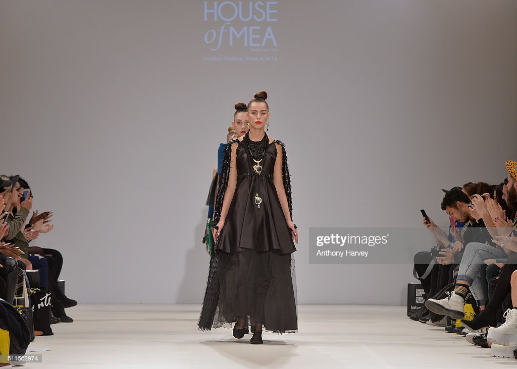 Models walk the runway at the House of Mea show at Fashion