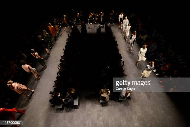 Models walk the runway at the House Of Ogan show during MercedesBenz Istanbul Fashion Week at the Zorlu Performance Hall on March 20 2019 in Istanbul...