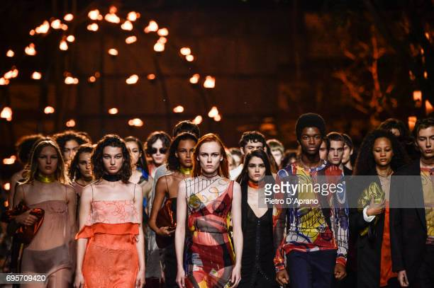 Models walk the runway at the Hugo SS18 show during 92 Pitti Immagine Uomo on June 13 2017 in Florence Italy