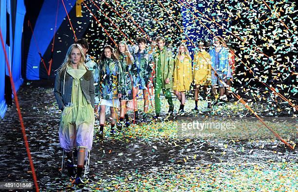 Models walk the runway at the Hunter Original show during London Fashion Week Spring/Summer 2016 on September 19 2015 in London England