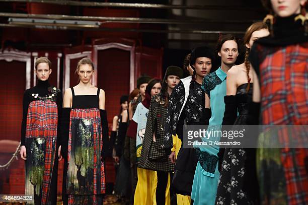 Models walk the runway at the I'm Isola Marras show during the Milan Fashion Week Autumn/Winter 2015 on March 1 2015 in Milan Italy