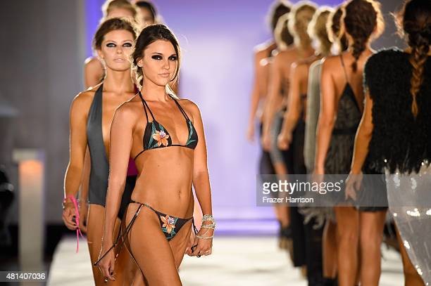 Models walk the runway at the Indah 2016 Collection during SWIMMIAMI at W South Beach WET on July 19 2015 in Miami Beach Florida
