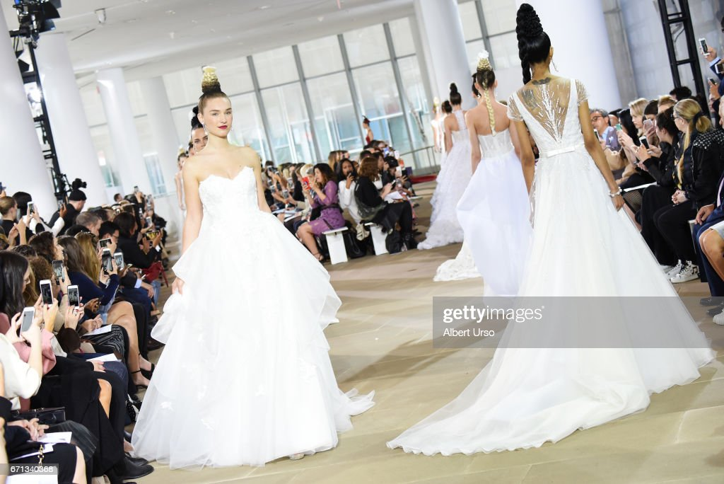 Models walk the runway at the Ines Di Santo show during New York Fashion Week: Bridal at The IAC Building on April 21, 2017 in New York City.