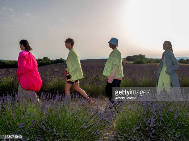 Models walk the runway at the Jacquemus Menswear Spring Summer 2020 show on June 24, 2019 in Valensole, France.