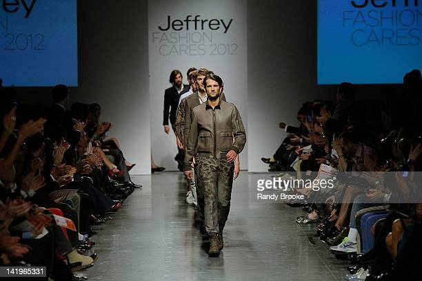 Models walk the runway at the Jeffrey Fashion Cares 2012 at the Intrepid Aircraft Carrier on March 26 2012 in New York City