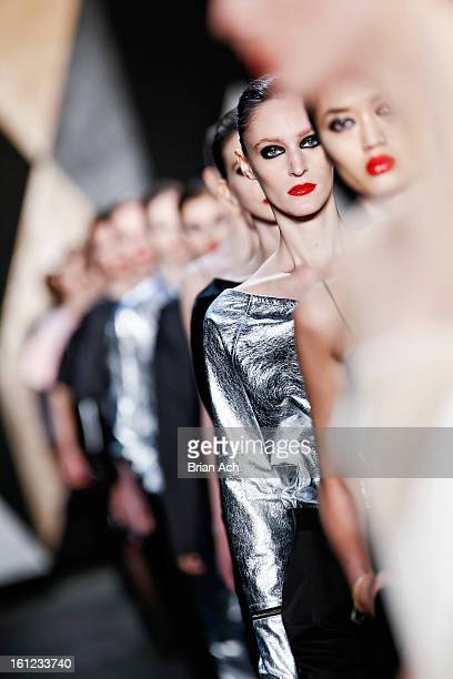 Models walk the runway at the Jen Kao fall 2013 fashion show during MercedesBenz Fashion Week at Skylight Studios at Moynihan Station on February 9...