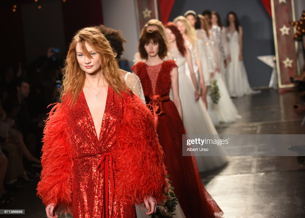 Models walk the runway at the Jenny Packham show during New York Fashion Week: Bridal on April 21, 2017 in New York City.