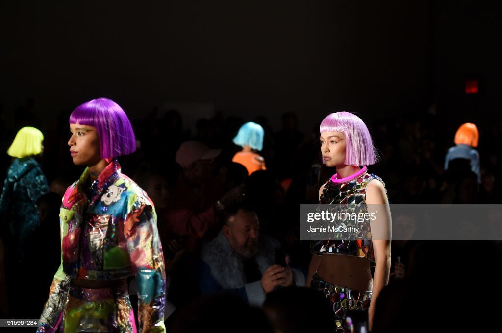 Models walk the runway at the Jeremy Scott front row during New York Fashion Week: The Shows at Gallery I at Spring Studios on February 8, 2018 in New York City.