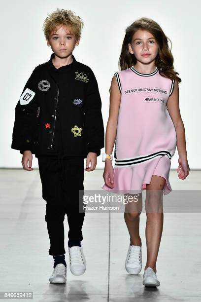 Models walk the runway at the Jia Liu fashion show during New York Fashion Week The Shows at Gallery 2 Skylight Clarkson Sq on September 13 2017 in...