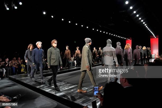 Models walk the runway at the John Varvatos Fashion Show at South Coast Plaza on October 7 2017 in Costa Mesa California