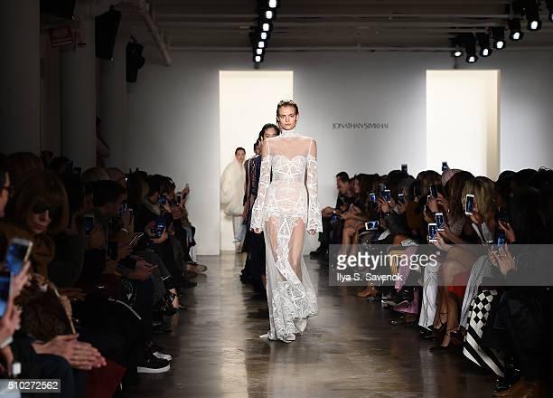 Models walk the runway at the Jonathan Simkhai fashion show during Fall 2016 MADE Fashion Week at Milk Studios on February 14 2016 in New York City