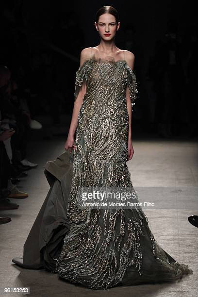 Models walk the runway at the Josephus Thimister Haute-Couture fashion show during Paris Fashion Week Spring/Summer 2010 at the Palais De Tokyo on...