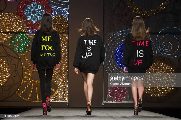 Models walk the runway at the Juana Martin fashion show during the Mercedes Benz Fashion Week Autumn/Winter 2018 at Ifema on January 28 2018 in...