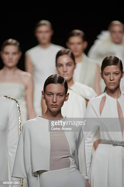 Models walk the runway at the Juanjo Oliva show during Madrid Fashion Week Fall/Winter 2015/16 at Ifema on February 9, 2015 in Madrid, Spain.