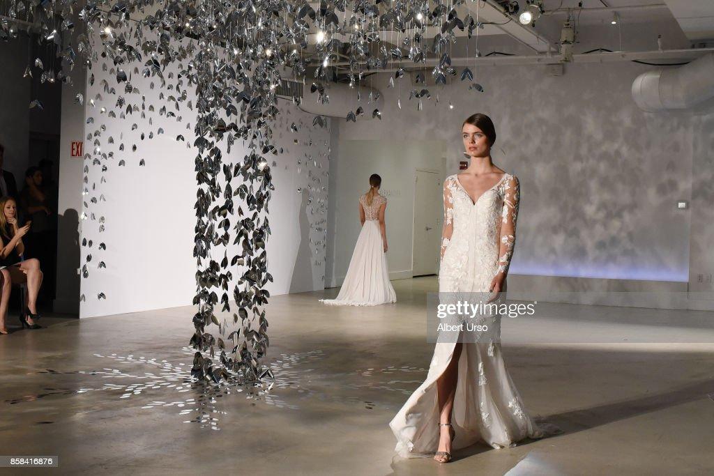 Models walk the runway at the Justin Alexander FW 2018 Bridal Show during New York Fashion Week Bridal at Venue 57 on October 6, 2017 in New York City.