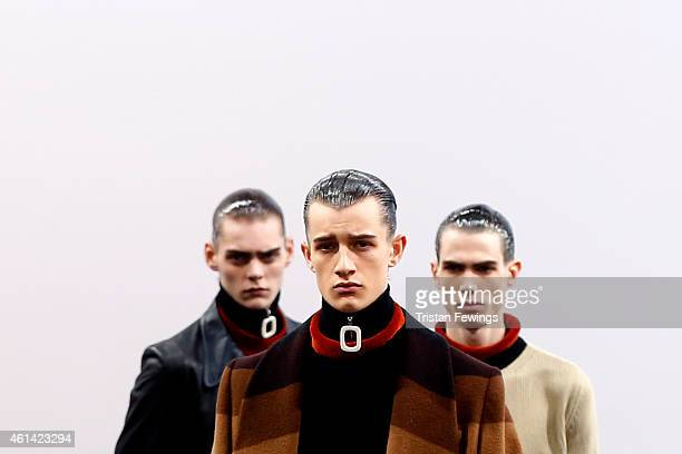 Models walk the runway at the JW Anderson show during the London Collections Men AW15 on January 11 2015 in London England