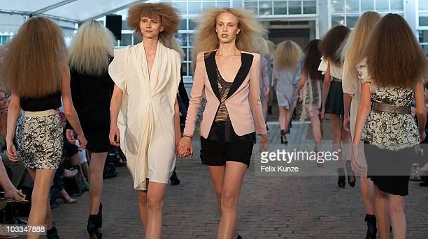 Models walk the runway at the Karen by Simonsen show at 'Copenhagen Fashion Week Spring / Summer 2011' on August 11 2010 in Copenhagen Denmark