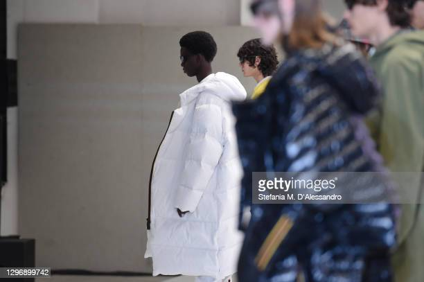 Models walk the runway at the K-Way Fashion Show during the Milan Men's Fashion Week F/W 2021/2022 on January 17, 2021 in Milan, Italy.