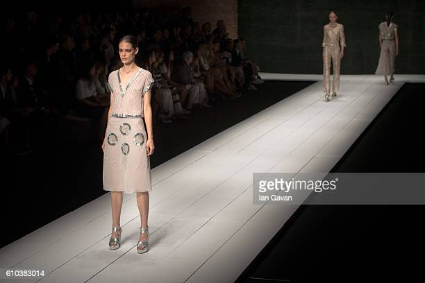 Models walk the runway at the Laura Biagiotti show during Milan Fashion Week Spring/Summer 2017 on September 25 2016 in Milan Italy