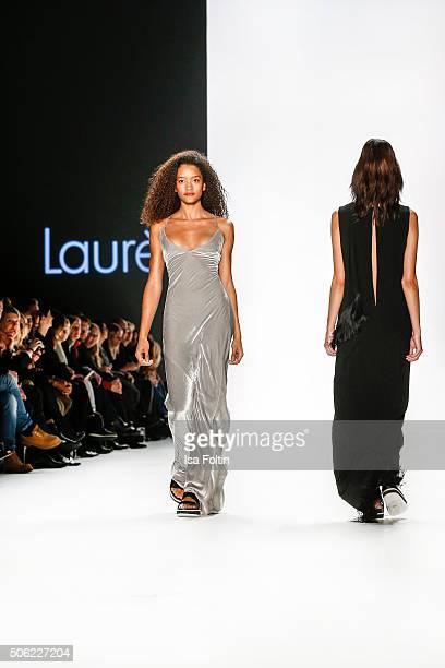 Models walk the runway at the Laurel Show MercedesBenz Fashion Week Berlin Autumn/Winter 2016 on January 20 2016 in Berlin Germany
