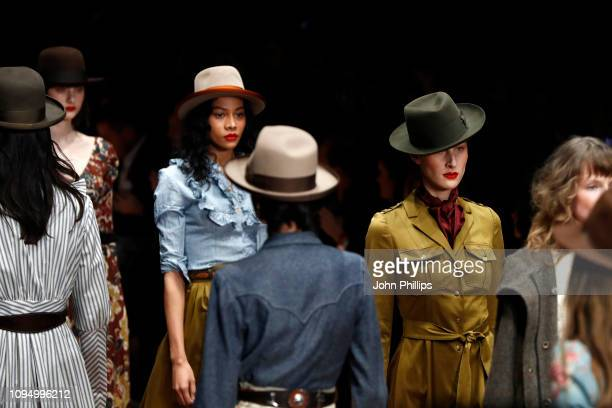 Models walk the runway at the Lena Hoschek show during the Berlin Fashion Week Autumn/Winter 2019 at ewerk on January 16 2019 in Berlin Germany