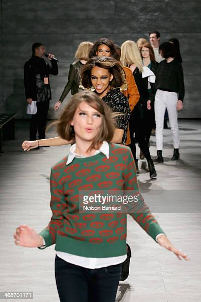 Models walk the runway at the Libertine fashion show during Mercedes-Benz Fashion Week Fall 2014 at The Pavilion at Lincoln Center on February 11,...