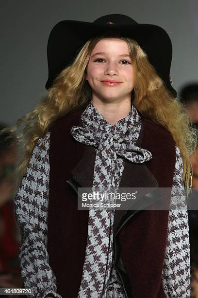Models walk the runway at the Little Miss Galia show during petitePARADE / Kids Fashion Week at Bathhouse Studios on February 28 2015 in New York City