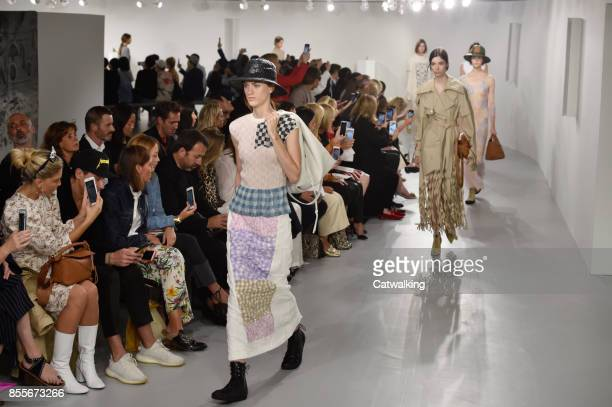Models walk the runway at the Loewe Spring Summer 2018 fashion show during Paris Fashion Week on September 29 2017 in Paris France
