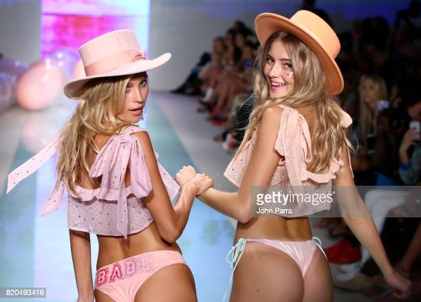 Models walk the runway at the LOLLI SWIM fashion show during FUNKSHION Swim Fashion Week at Funkshion Tent on July 21 2017 in Miami Beach Florida