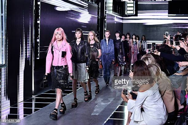 Models walk the runway at the Louis Vuitton Spring Summer 2016 fashion show during Paris Fashion Week on October 7, 2015 in Paris, France.