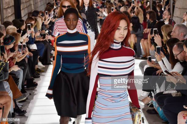 Models walk the runway at the Louis Vuitton Spring Summer 2018 fashion show during Paris Fashion Week on October 3 2017 in Paris France