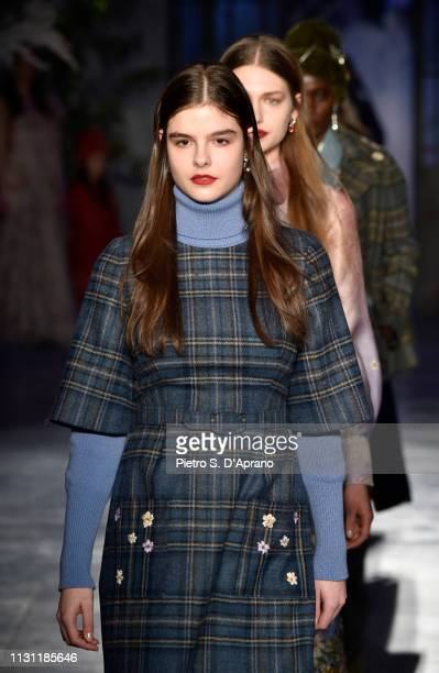 Models walk the runway at the Luisa Beccaria show during Milan Fashion Week Autumn/Winter 2019/20 on February 21 2019 in Milan Italy