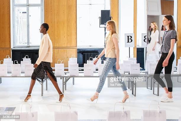 Models walk the runway at the Malaikaraiss defilee during the Der Berliner Mode Salon Spring/Summer 2017 at Kronprinzenpalais on June 28, 2016 in...