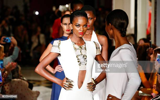Models walk the runway at the Marc Bouwer fashion show during New York Fashion Week September 2016 at The Museum of the City of New York on September...