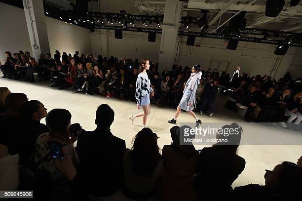 Models walk the runway at the Marcel Ostertag Front Row at The Gallery Skylight at Clarkson Sq on February 11 2016 in New York City