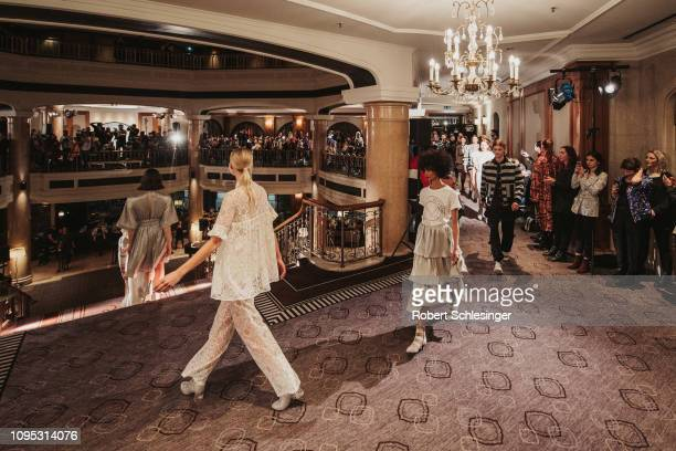 Models walk the runway at the Marcel Ostertag show during the Berlin Fashion Week Autumn/Winter 2019 at Westin Grand Hotel on January 16 2019 in...