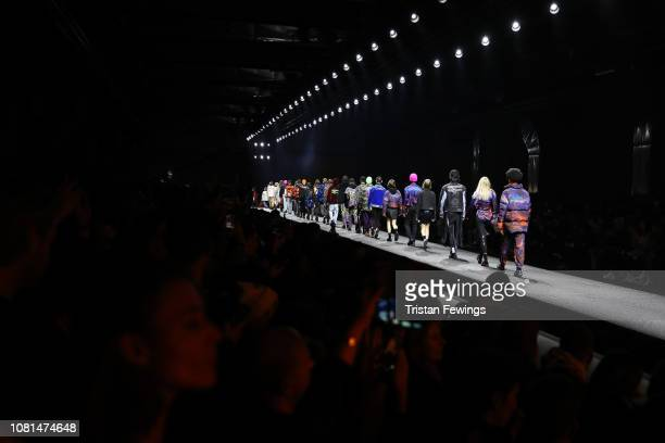 Models walk the runway at the Marcelo Burlon County Of Milan show during Milan Menswear Fashion Week Autumn/Winter 2019/20 on January 12 2019 in...