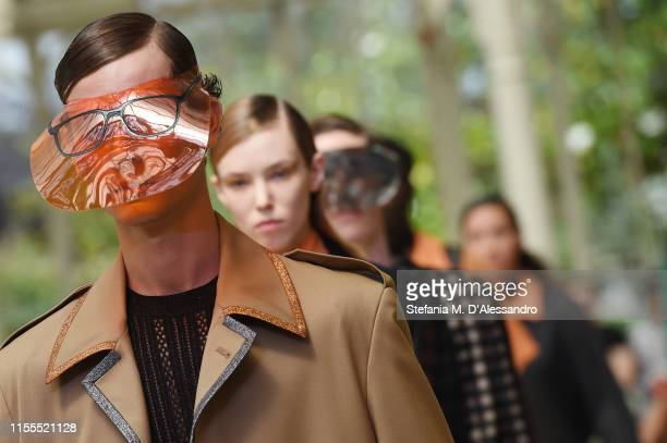 Models walk the runway at the Marco De Vincenzo fashion show during Pitti Immagine Uomo 96 on June 12 2019 in Florence Italy
