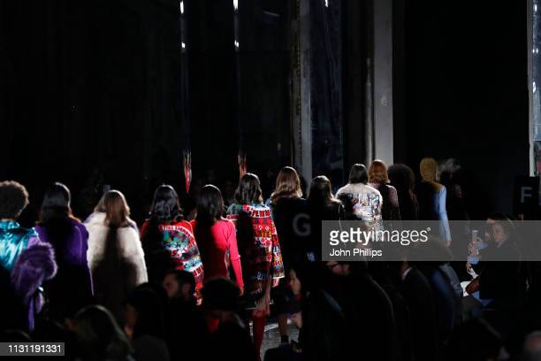 Models walk the runway at the Marco Rambaldi Supported By CNMI e CNMI Fashion Trust show at Milan Fashion Week Autumn/Winter 2019/20 on February 21...