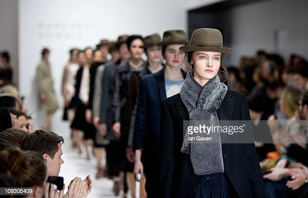 Models walk the runway at the Margaret Howell Show during London Fashion Week Autumn/Winter 2011 at the Margaret Howell Studio on February 20 2011 in...